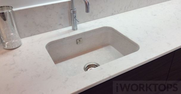 Silestone sink butt under no overhang - iWorktops
