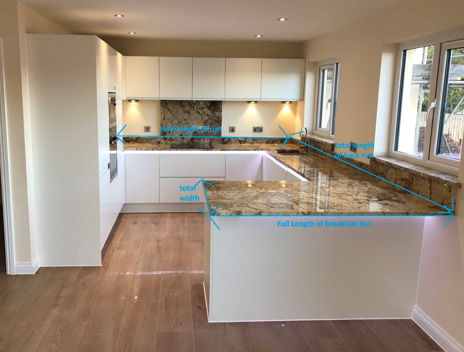 how to measure for a new worktop length and width