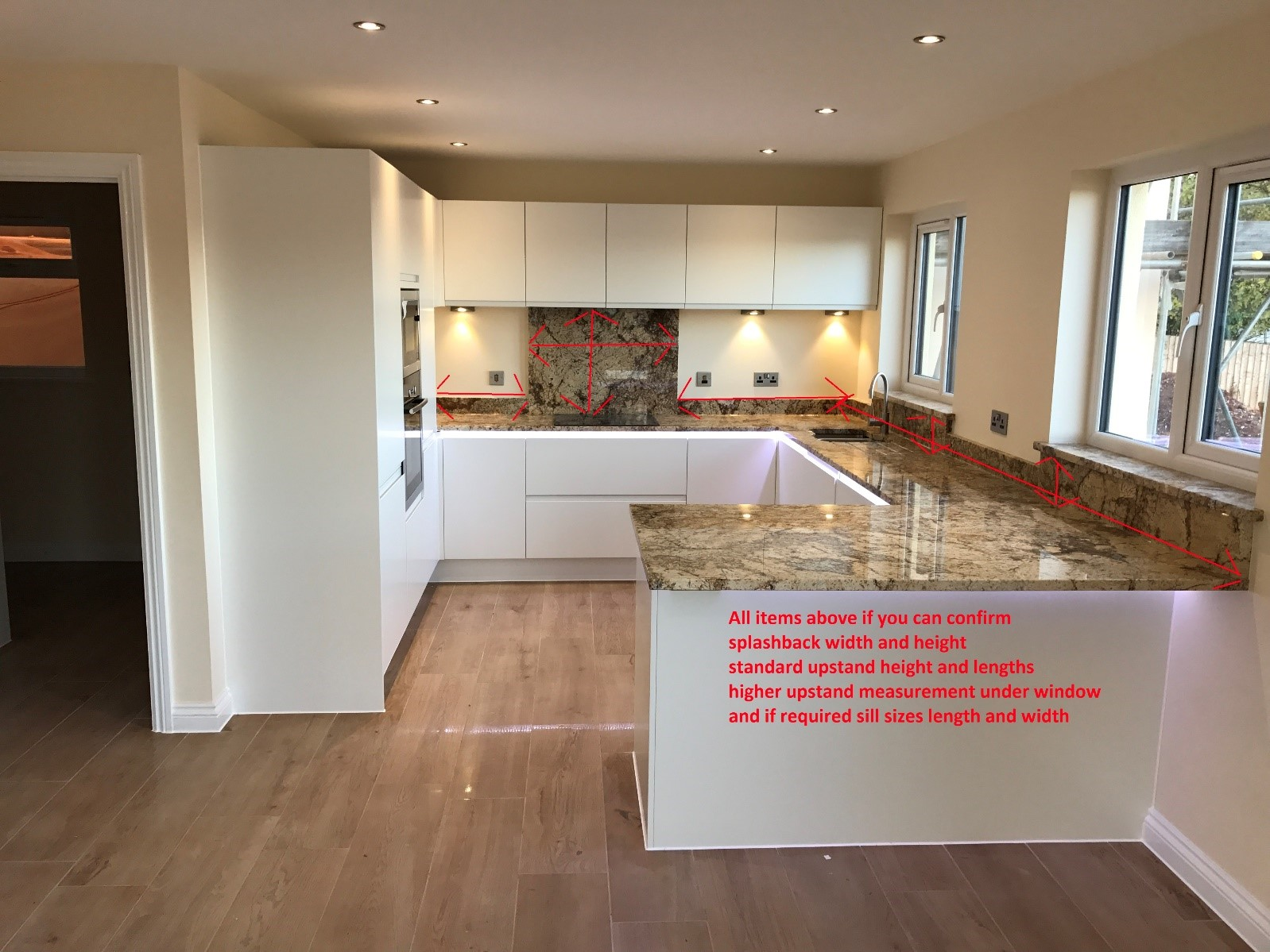 how to measure for a new worktop upstands, splashback and sills