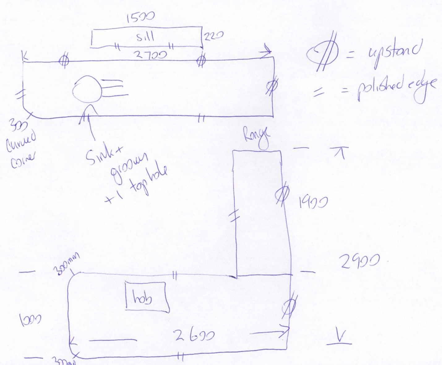 how to measure for a new worktop example plan